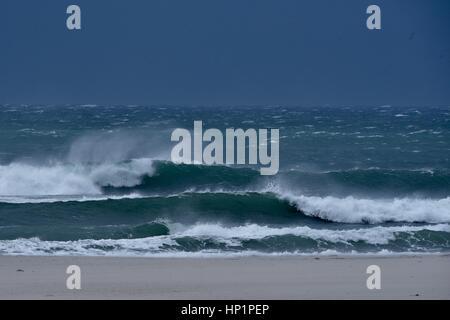 San Diego, California, USA, 17th February, 2017. Crashing surf at Mission Beach in San Diego, California, USA. National - Stock Photo