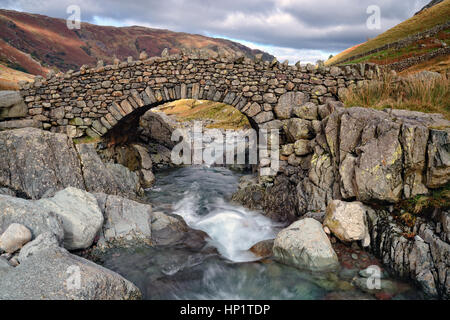 The ancient Stocley Bridge near Seathwaite in the Lake District National Park in Cumbria