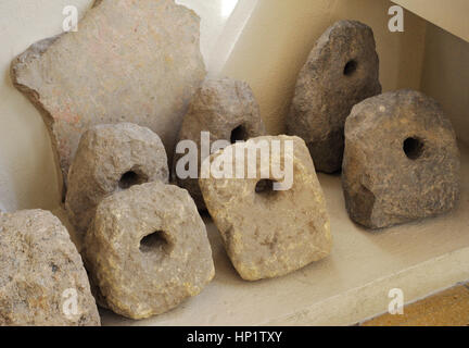 Roman era. Counterpoise. From the amphitheater of Tarraco. It would form part of the stage machinery of the spectacles. - Stock Photo