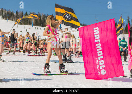 Sheregesh, Kemerovo region, Russia - April 16, 2016: Grelka Fest is a sports and entertainment activity for ski - Stock Photo