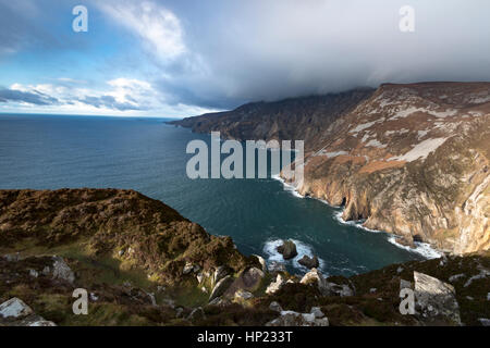 Slieve League Cliffs are situated on the south west coast of County Donegal, Ireland. and are the highest marine - Stock Photo