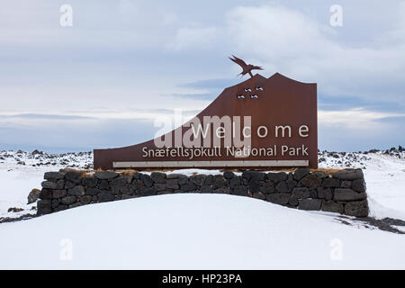 Entrance sign of the Snæfellsjökull National Park in winter on the Snæfellsnes peninsula in Iceland - Stock Photo