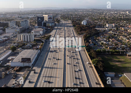 Los Angeles, California, USA - May 9, 2014:  Aerial of flowing traffic on the massive San Diego 405 freeway in west - Stock Photo