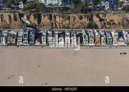 Santa Monica, California, USA - August 6, 2016:  Aerial of eclectic housing along Santa Monica beach near Los Angeles. - Stock Photo