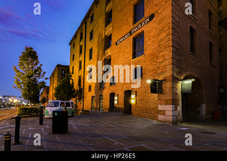 Albert Dock,Liverpool, England June 2016. A night time Photograph taken in the tourist waterfront of Liverpool - Stock Photo
