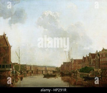 Gerrit Toorenburgh   View of the River Amstel in Amsterdam   - Mauritshuis Museum The Hague - Stock Photo
