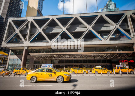 The depressing Port Authority Bus Terminal in midtown Manhattan in New York on Thursday, February 16, 2017. The - Stock Photo