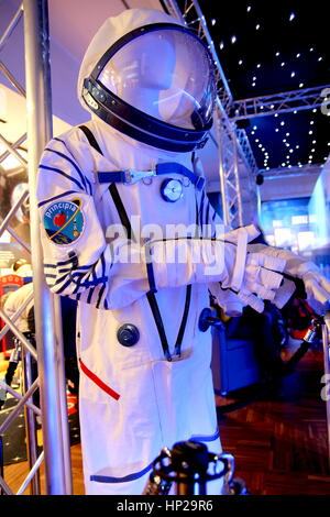 Chichester, Sussex, UK - Feb 15th 2017: Space suit worn by British astronaut Tim Peake for his mission to the International - Stock Photo