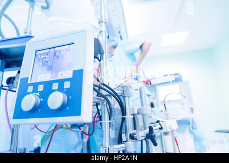 the control unit on the heart-lung machine which runs the operating background cardiac surgery - Stock Photo