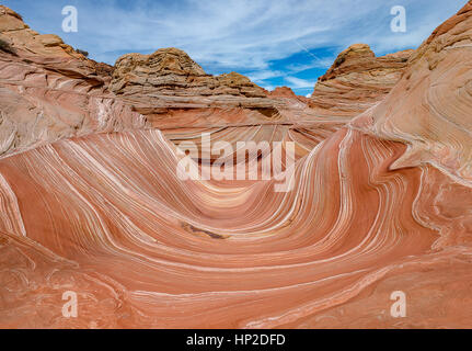 Unique layers of sandstone at The Wave in Arizona, World famous landmark - Stock Photo