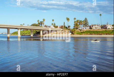 Mission Bay and the Ingraham Street Bridge in the morning. San Diego, California, USA. - Stock Photo