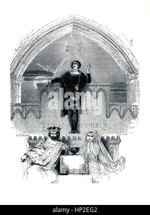 Hamlet, Victorian book frontispiece for the play by William Shakespeare from the 1849 illustrated book Heroines - Stock Photo