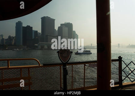 Financial District as seen from the Staten Island ferry,  New York City, USA - Stock Photo