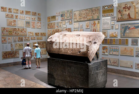 The MET, Metropolitan Museum of Art. Egyptian galleries. Sarcophagus of Wennefer in the center,New York City, USA - Stock Photo