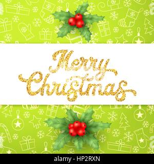 Gold glitter texture Xmas lettering on green Christmas background with sleighs, trees, balls, gifts. Decoration - Stock Photo