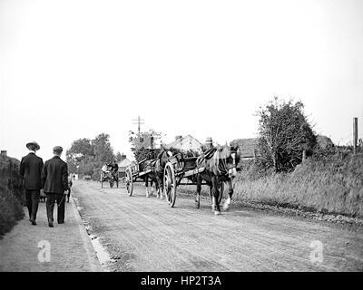 A convoy of horse drawn carts driving down a rough country lane in Kent taken in 1910. On the left is a narrow pavement - Stock Photo