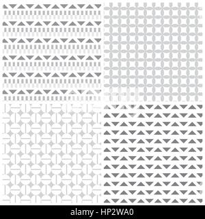 Seamless pattern. Collection of four classical stylish textures. Repeating geometric shapes, circles, rhombus, triangles, - Stock Photo