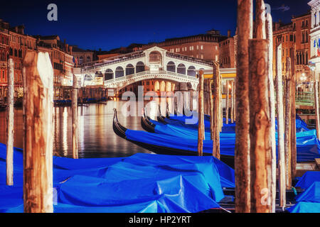 City landscape. Rialto Bridge in Venice - Stock Photo