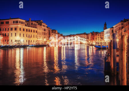 City landscape. Rialto Bridge in Venice, Italy - Stock Photo