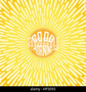 Good Morning greeting card. Handwritten label with radially grunge sunbeams.  Vector illustration - Stock Photo