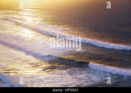beautiful seascape with waves at the sunset - Stock Photo