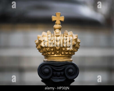 Ancient gold crown in the style of the Holy Roman Empire of Charlemagne. - Stock Photo