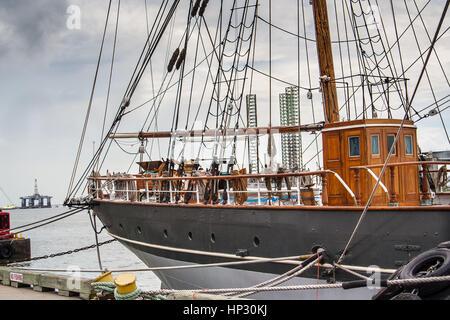 The Elissa, a historic boat in Galveston, Texas - Stock Photo