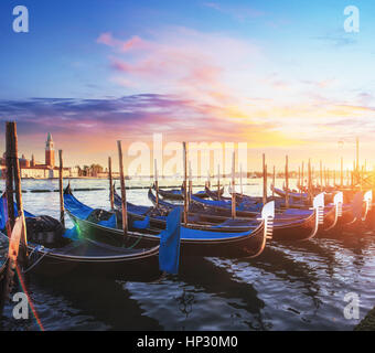 City landscape. Fantastic views of the gondola at sunset - Stock Photo