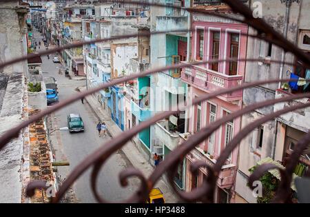 Concordia street, Centro Habana, La Habana, Cuba - Stock Photo