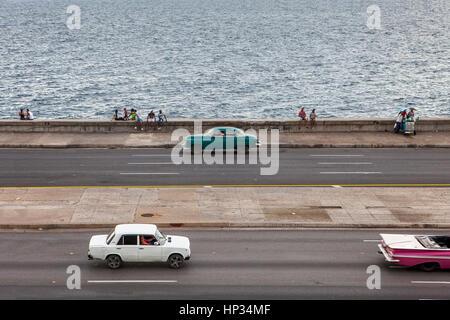 Vintage car, cab, taxi, taxicab, Malecón, La Habana, Cuba - Stock Photo