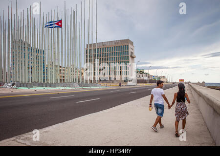 Malecon,Forest of flags, in Anti-imperialist Tribune Jose Marti and  Embassy of the United States of America,The - Stock Photo