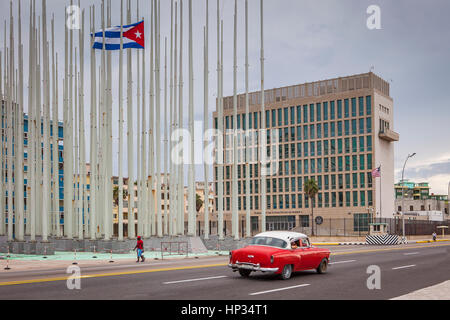 Forest of flags, in Anti-imperialist Tribune Jose Marti and  Embassy of the United States of America,The 138 flags - Stock Photo