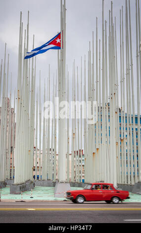 Forest of flags, in Anti-imperialist Tribune Jose Marti in front of Embassy of the United States of America,The - Stock Photo