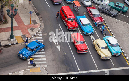 Old, vintage, car, taxi, cab, taxicab,  in Paseo Marti or Paseo Prado, traffic, La Habana Vieja district, La Habana, - Stock Photo