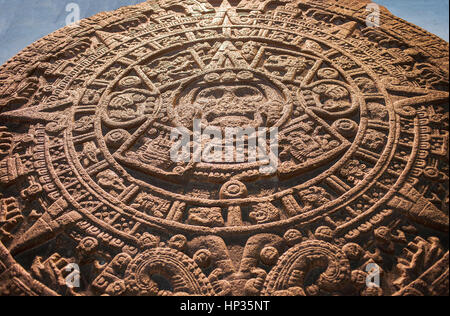 'Piedra del Sol' (Stone of the Sun), Aztec civilization, National Museum of Anthropology. Mexico City. Mexico - Stock Photo