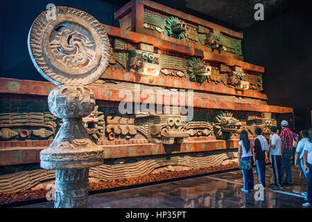Replica, `Piramide de la serpiente emplumada´, Pyramid of the Feathered Serpent, or snake,from Teotihuacan, National - Stock Photo