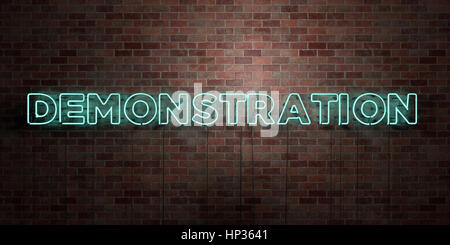 DEMONSTRATION - fluorescent Neon tube Sign on brickwork - Front view - 3D rendered royalty free stock picture. Can - Stock Photo