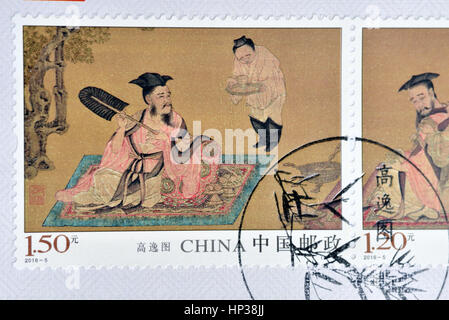 CHINA - CIRCA 2016: A stamp printed in China shows 2016-5 Painting of Gaoyi Tu. circa 2016. - Stock Photo