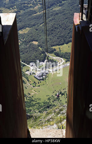 Looking down to Fuente De from the upper station of the cable car, Picos de Europa, Northern Spain - Stock Photo