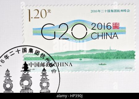 CHINA - CIRCA 2016: A stamp printed in China shows 2016-25 G20 Hangzhou Summit. circa 2016. - Stock Photo