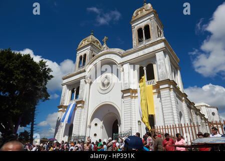 Diriamba, Nicaragua - January 4, 2017: Holy day in Diriamba city in central square with main church on celebration - Stock Photo