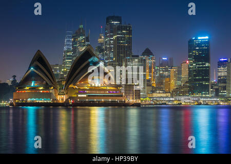 Sydney. Cityscape image of Sydney, Australia with Opera House and Sydney skyline during twilight blue hour. - Stock Photo