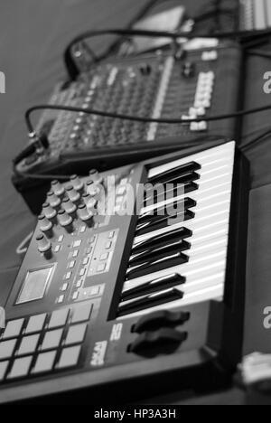 MIDI controller keyboard black and white - Stock Photo