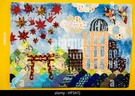 A quilt portraying the Hiroshima peace memorial dome tori on exhibition at the 2017 Tokyo International Great Quilt - Stock Photo
