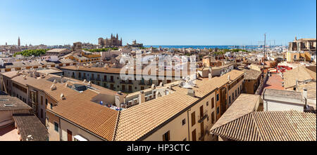 Panorama View of Palma de Mallorca. Wiew of Palma de Mallorca from the roof of one of the houses of the seaside - Stock Photo