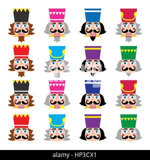 Christmas nutcracker - soldier figurine head icons set. Vector icons set of Xmas nutcrackers heads isolated on white - Stock Photo