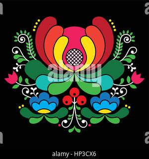 Norwegian folk art pattern - Rosemaling style embroidery on black.  Vector background of floral folk art from Norway - Stock Photo