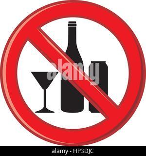 Symbol alcohol ban - Stock Photo