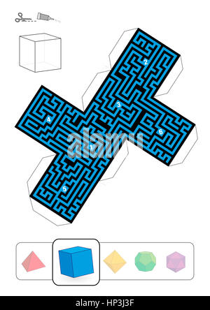 HEXAHEDRON MAZE - template of one of five platonic solid labyrinths - Print on heavy paper, cut it out, make a 3d - Stock Photo