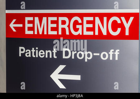 Red Emergency Entrance Sign for a Local Hospital XV - Stock Photo